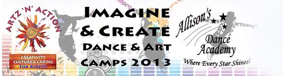 Artz N Action and Allisons Dance Academy Art and Dance Summer Camp header